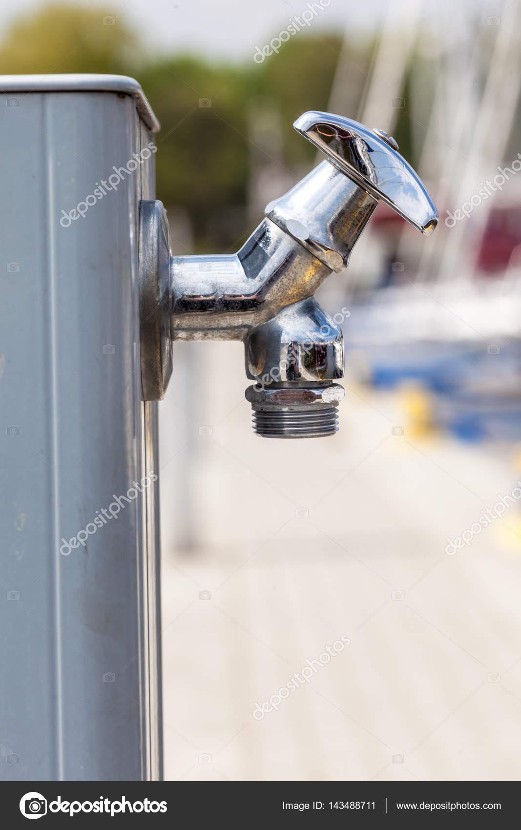 Small Metal Tap Water Outside U2014 Stock Photo
