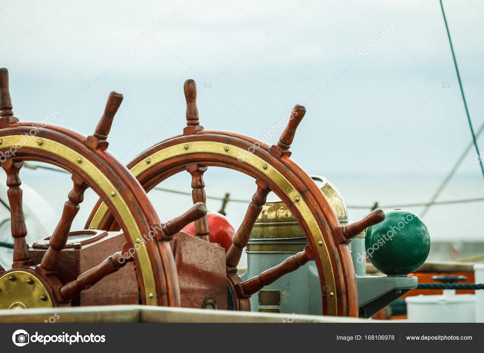 Closeup of helm rudder on ship or yacht — Stock Photo © Voyagerix