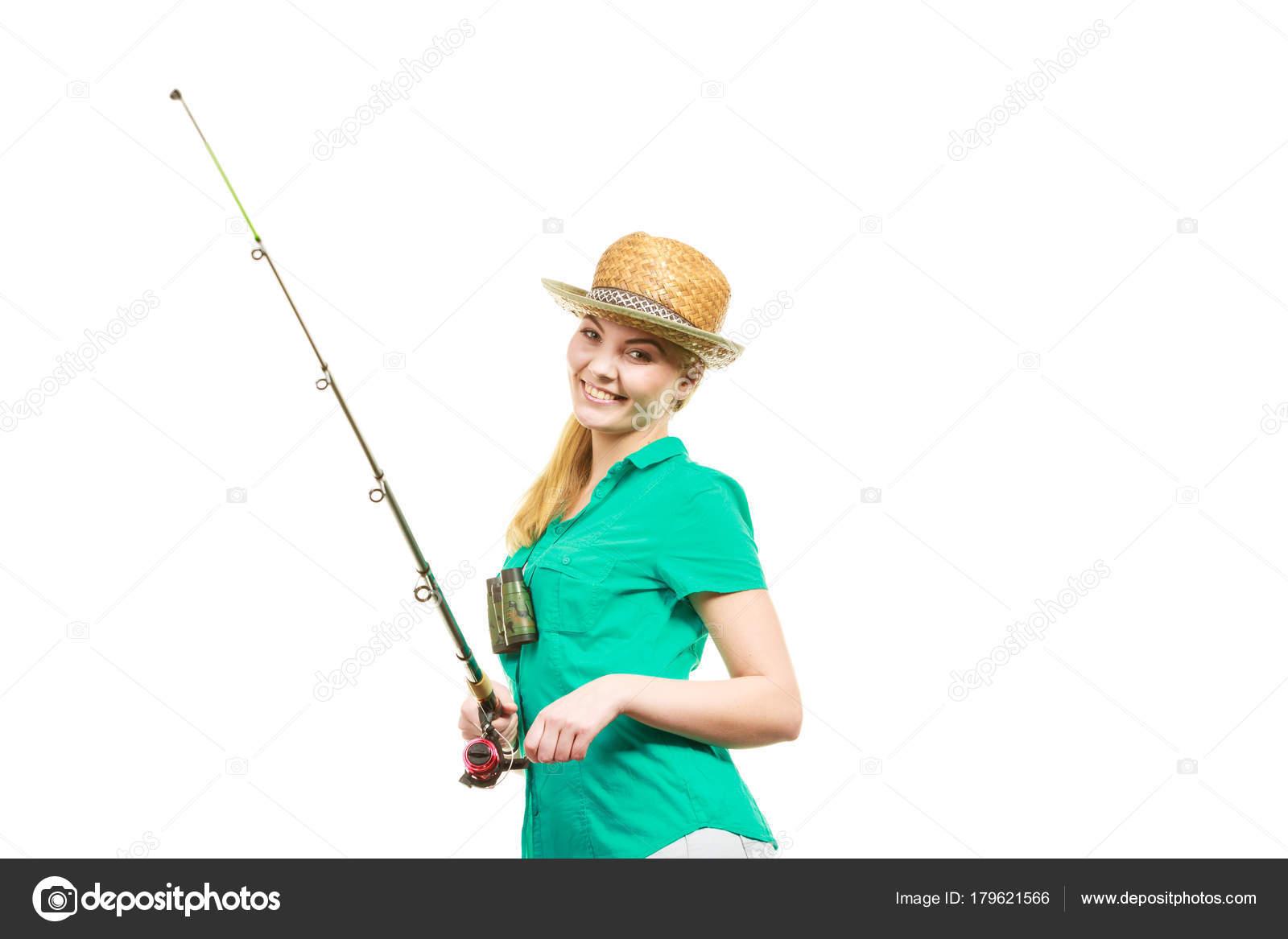 Женщина с рыболовная удочка, спиннинг оборудования — Стоковое фото ...
