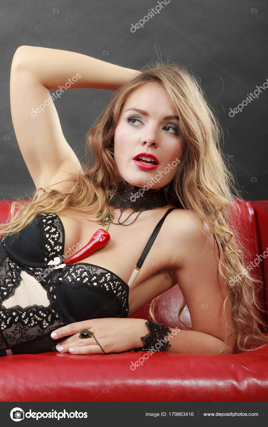 Surprising Woman Wearing Sexy Black Lingerie Underwear Holding Pepper Uwap Interior Chair Design Uwaporg