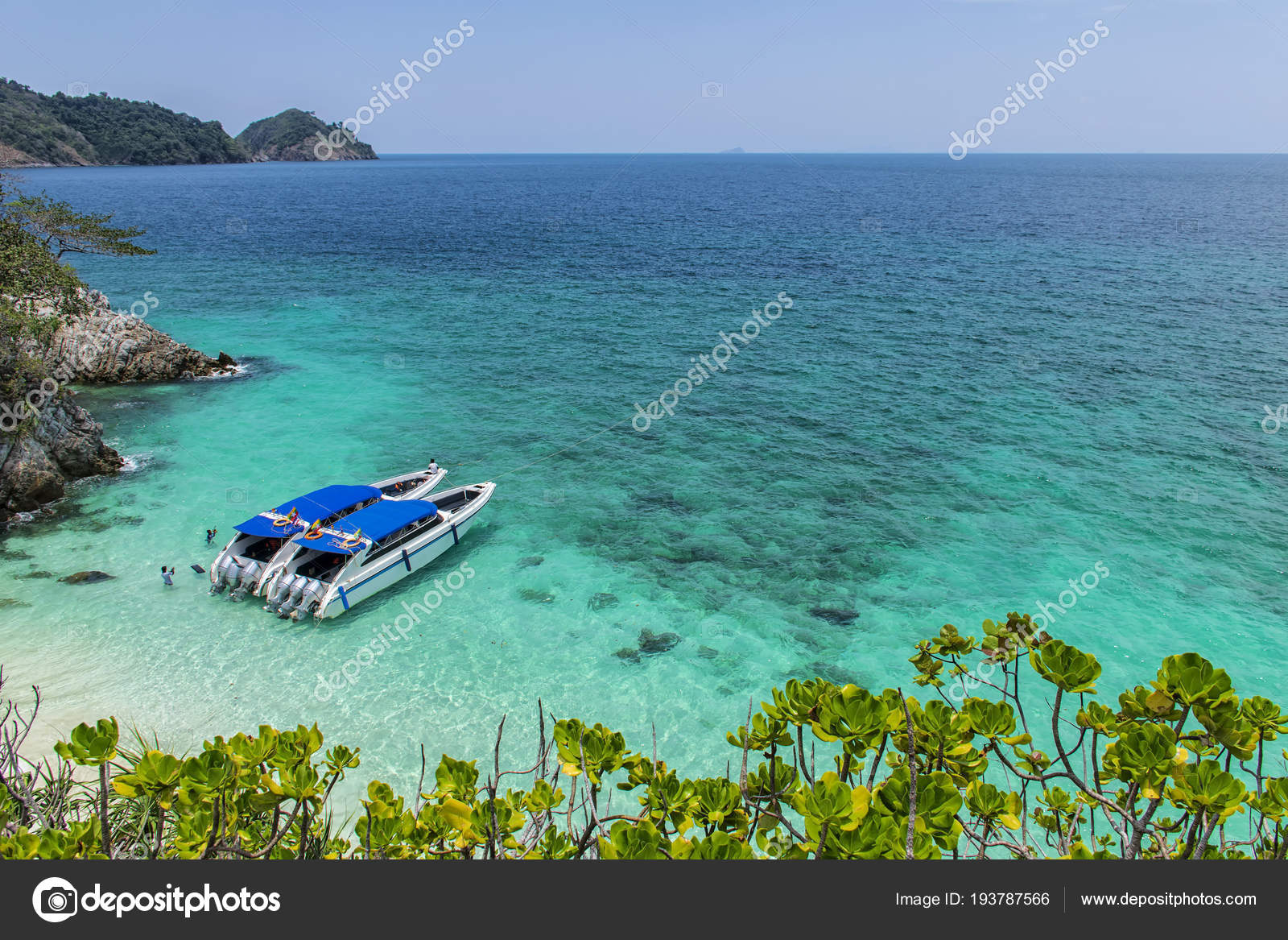 Two Speed Boat Parked Sea Beautiful Big Mountains Background