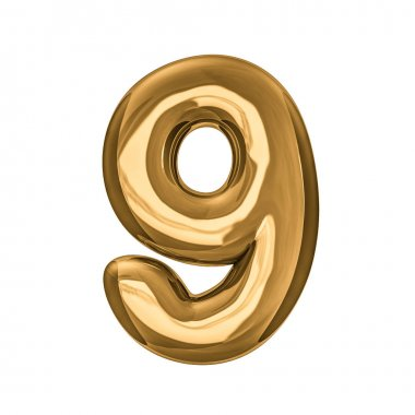 Gold digits made of inflatable balloons isolated on transparent
