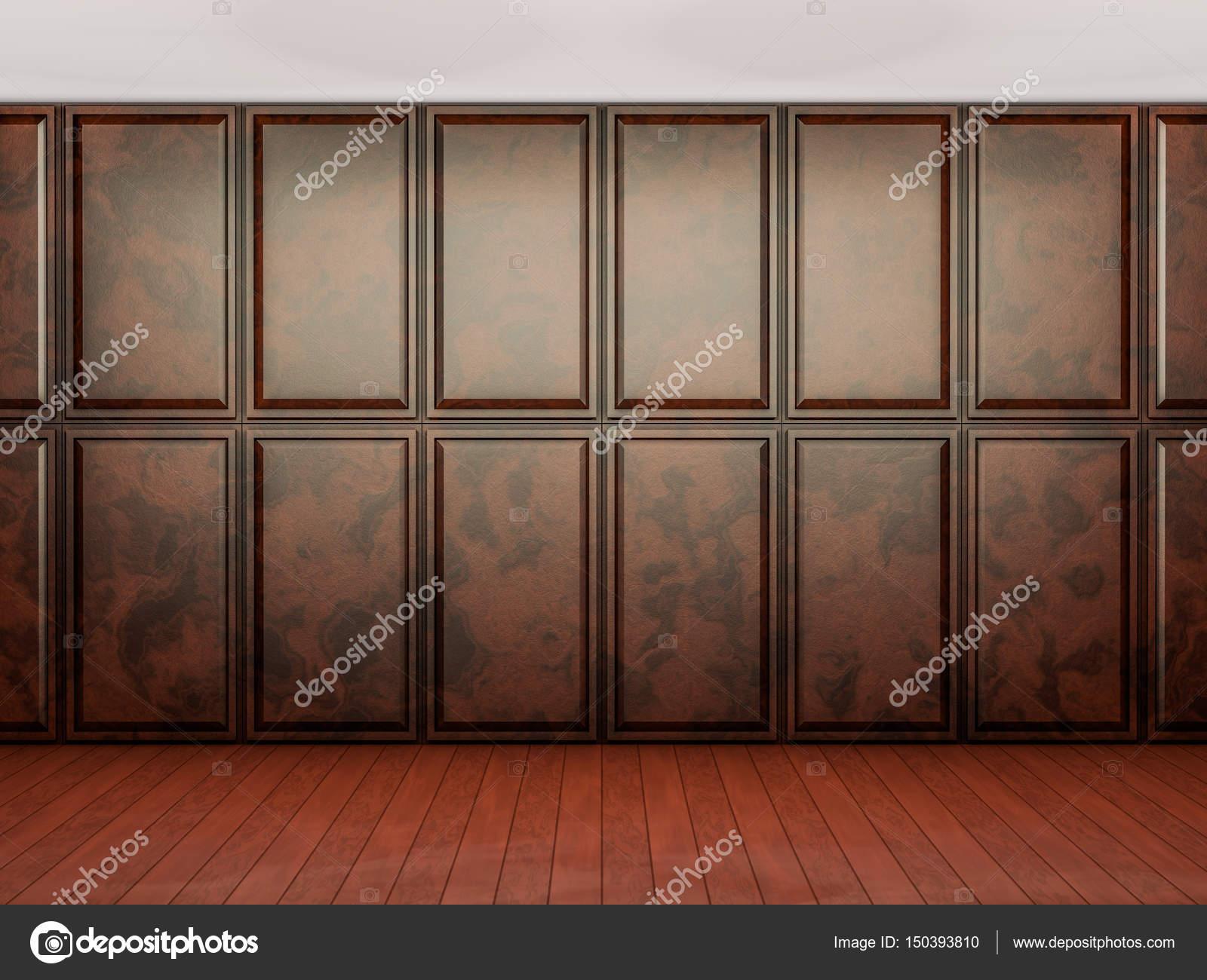 Holzvertäfelung leeren innenraum hintergrund zimmer mit braunen holzvertäfelung