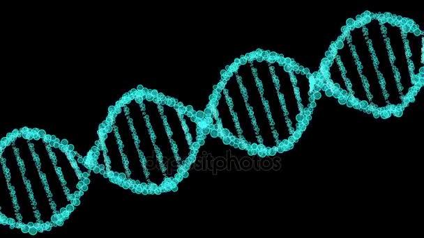 Animated DNA model from luminous balls. 3D rendering