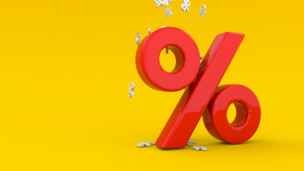 Animated seasonal sales background with percent discount pattern. Business illustration. 3D rendering