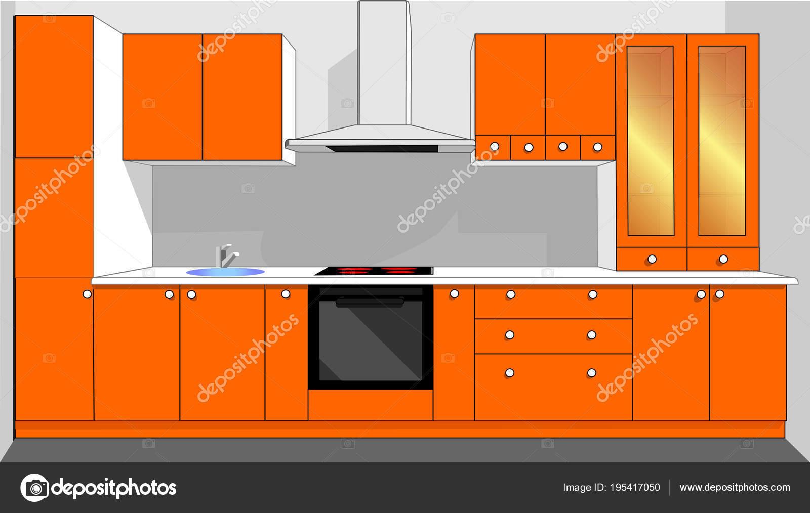 Meubles Cuisine Orange Vecteur U2014 Image Vectorielle