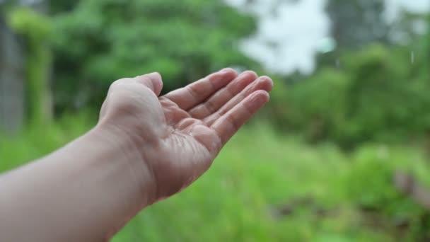 Gocce di pioggia dacqua che scorrono nelle mani