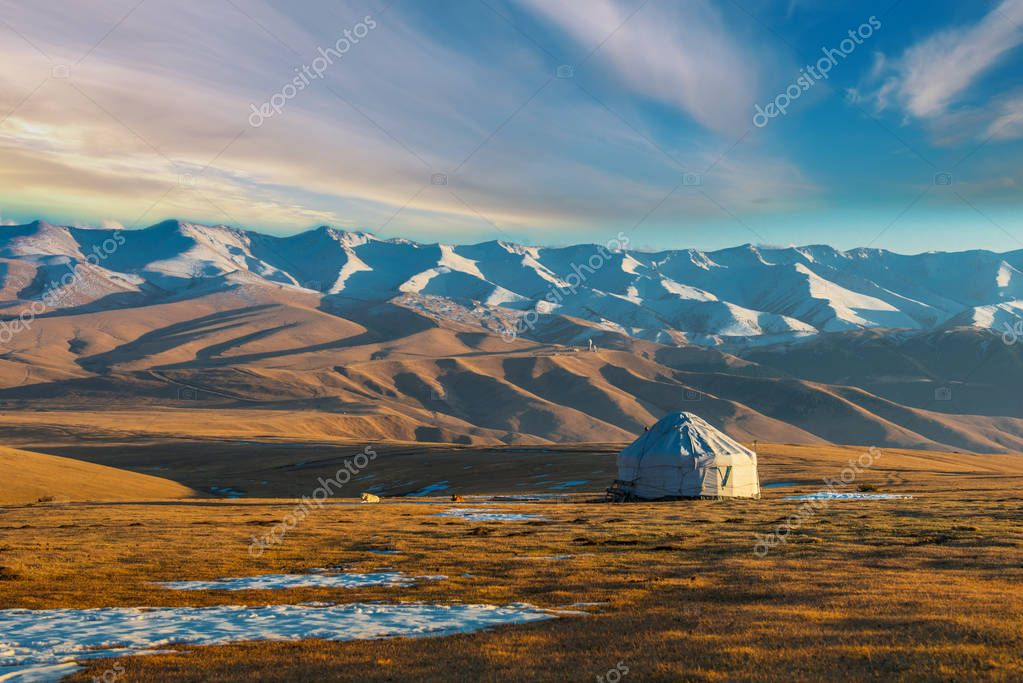 Urta nomadic house in the mountains of Kazakhstan, Central Asia