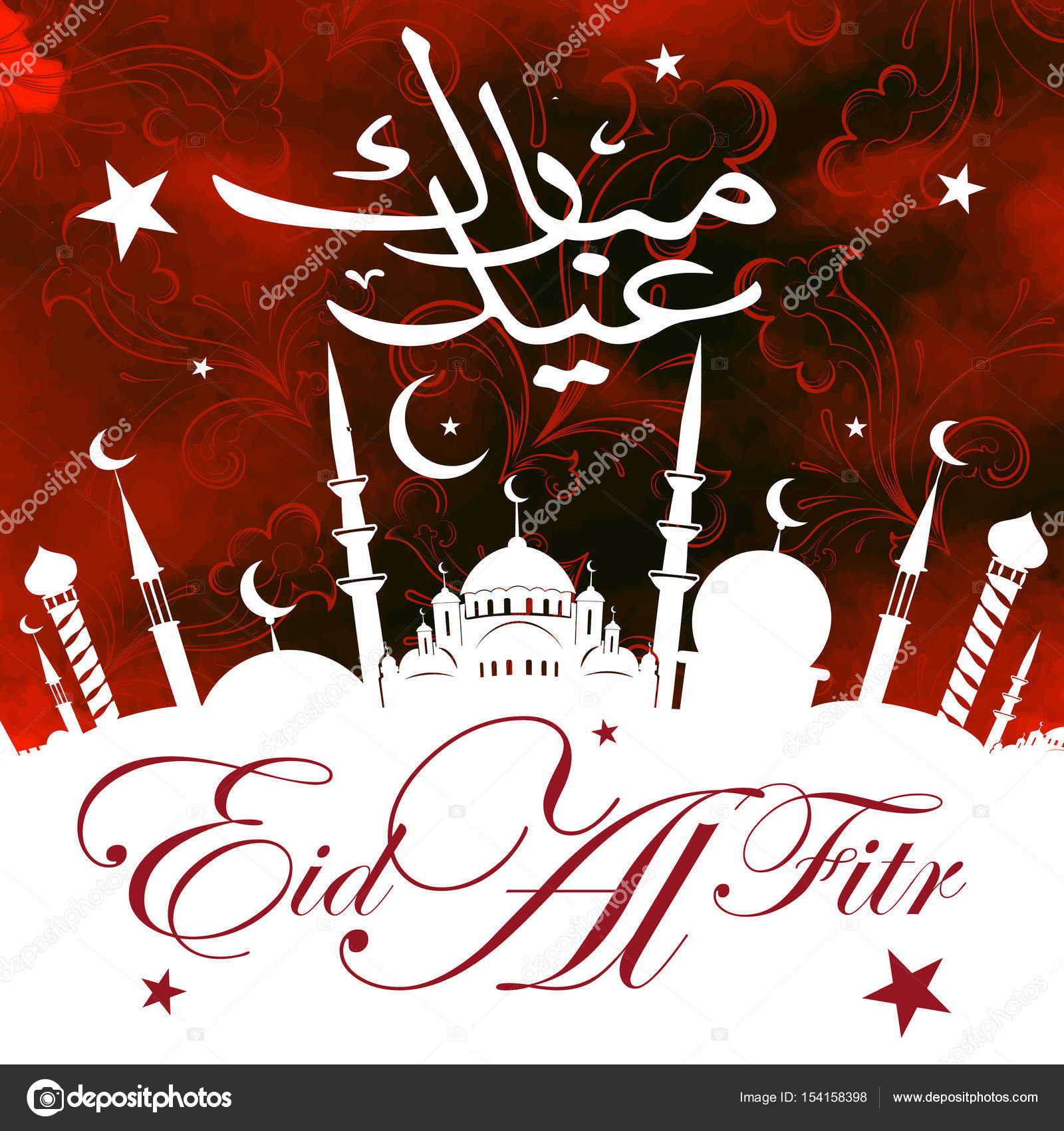 Eid al fitr greeting card stock photo vklim2011 154158398 calligraphy of arabic text eid al fitr feast of breaking the fast holiday greeting card in retro style text in arabic happy holiday kristyandbryce Choice Image