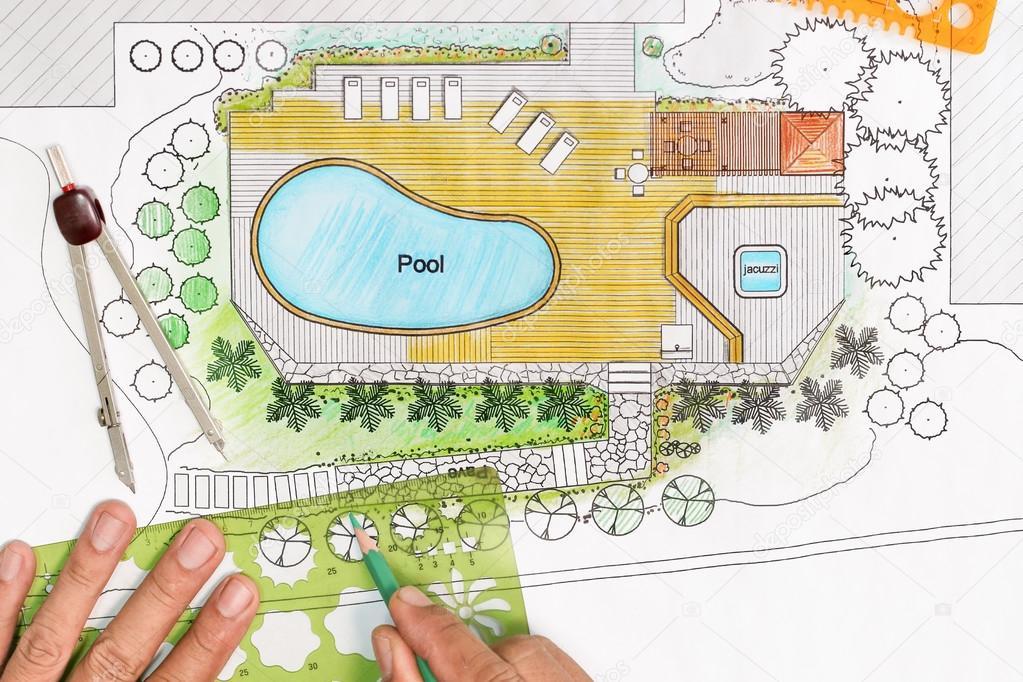 paysagiste conçoit le plan de jardin avec piscine, Villa de luxe ...