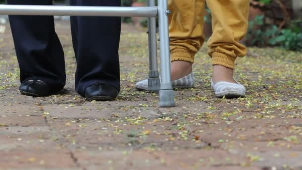 senior woman using a walker with caregiver in park.