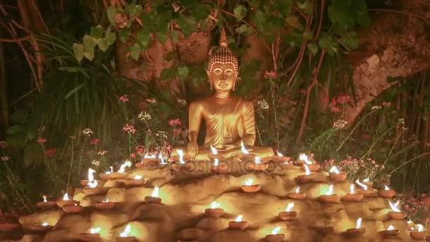 Socha Buddhy, světlo svíčky pod stromem Bodhi, bezešvé smyčka .