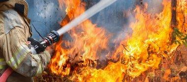 İtfaiyeciler yangına su sıkarlar.