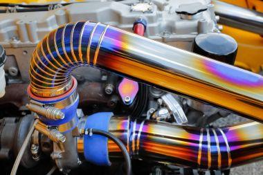 Tig welded seam on stainless steel pipe in racing car