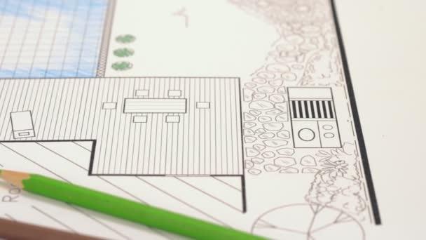 Hinterhof-Garten und Pool Gestaltungsplan für villa