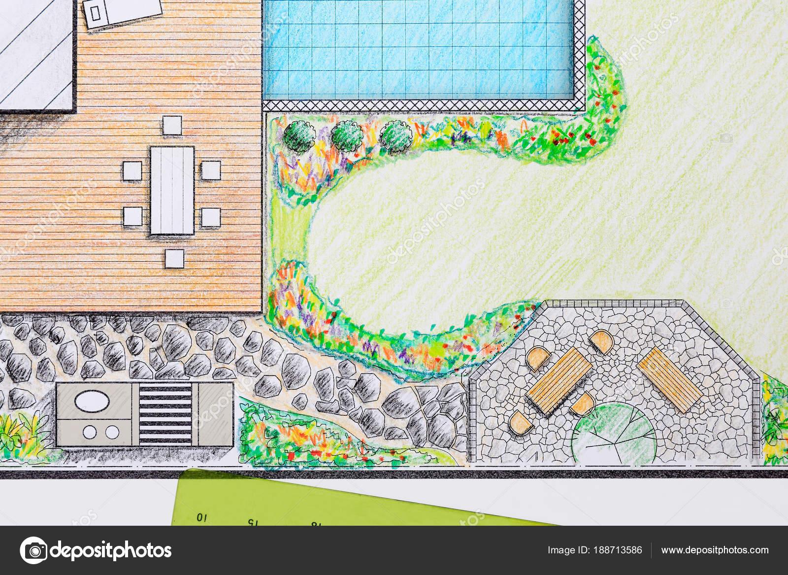 Landscape Architect Design Patio Backyard Plan For Villa U2014 Stock Photo