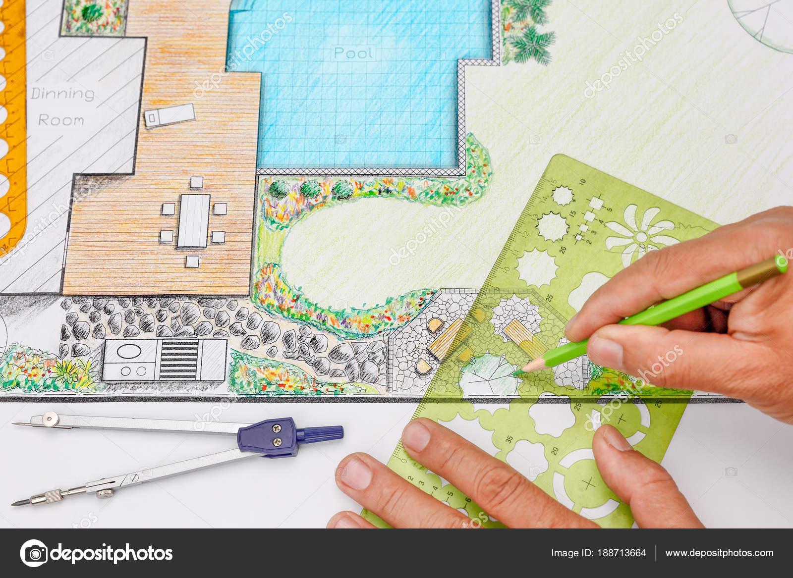 Landscape Architect Design Backyard Patio Plan For Villa U2014 Stock Photo