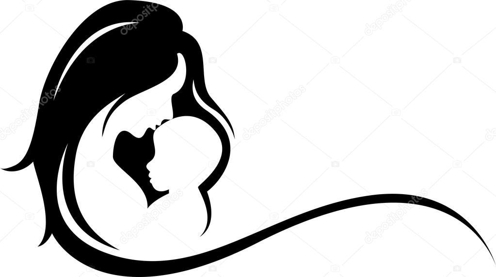 Silueta Del Símbolo De Madre Y