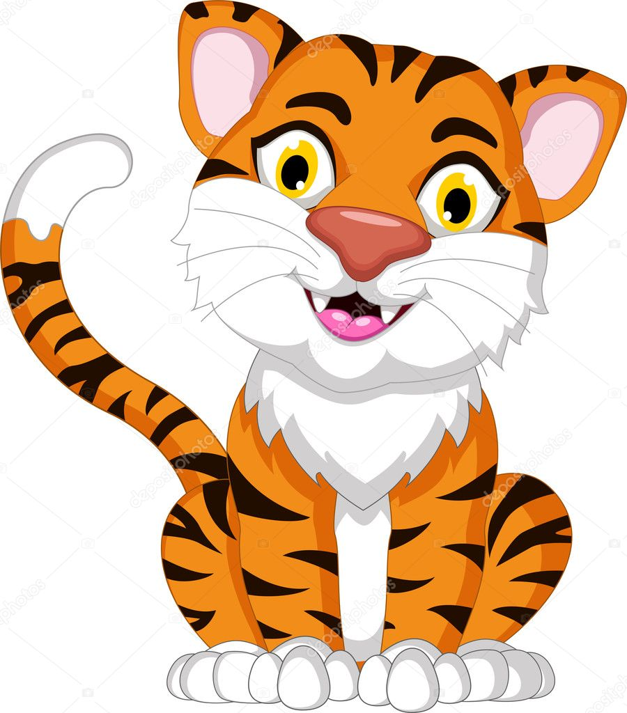 Cartone animato carino tigre seduto — foto stock
