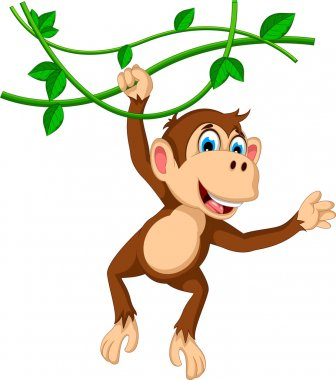 monkey cartoon hanging