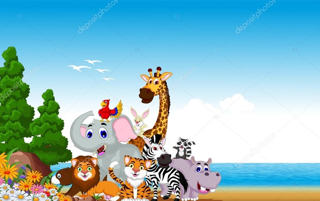 animal cartoon collection with beach background