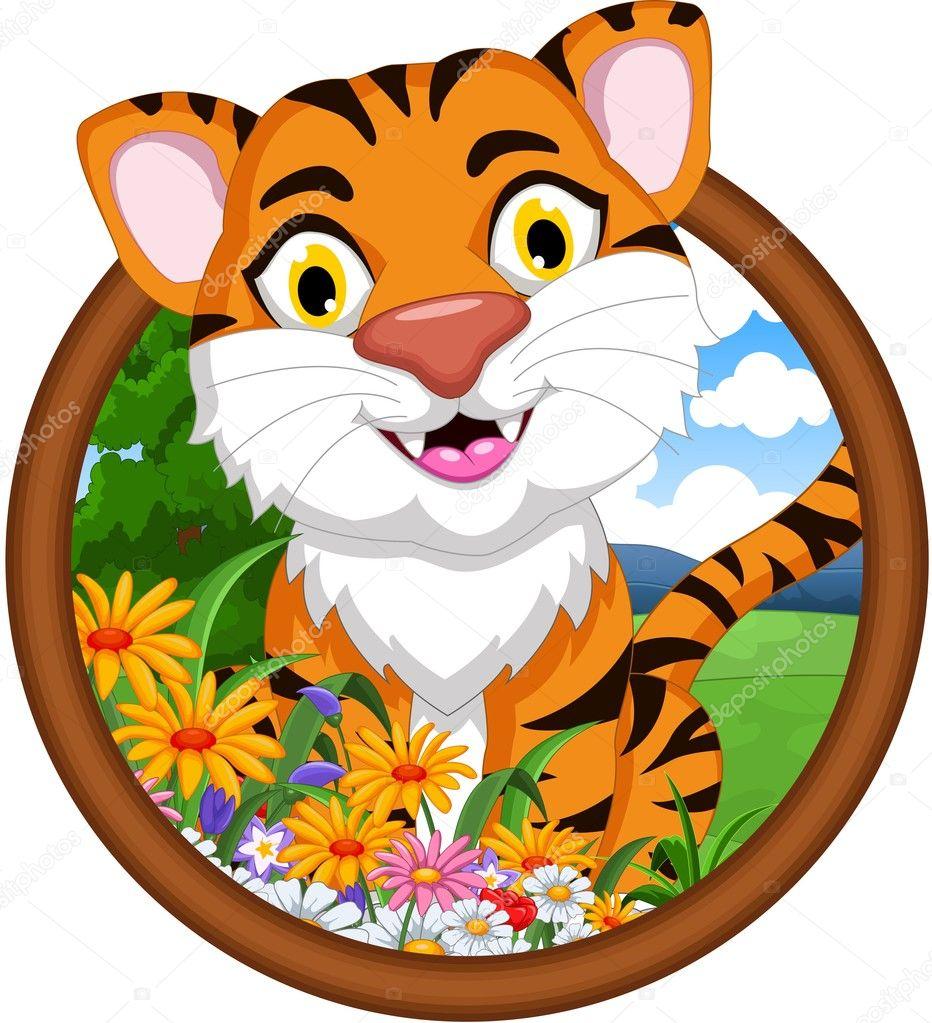 dibujos animados de tigre en el marco — Fotos de Stock ...