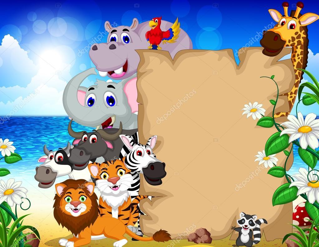 Fondos De Animales Animados: Animales De Dibujos Animados Con La Muestra En Blanco Y