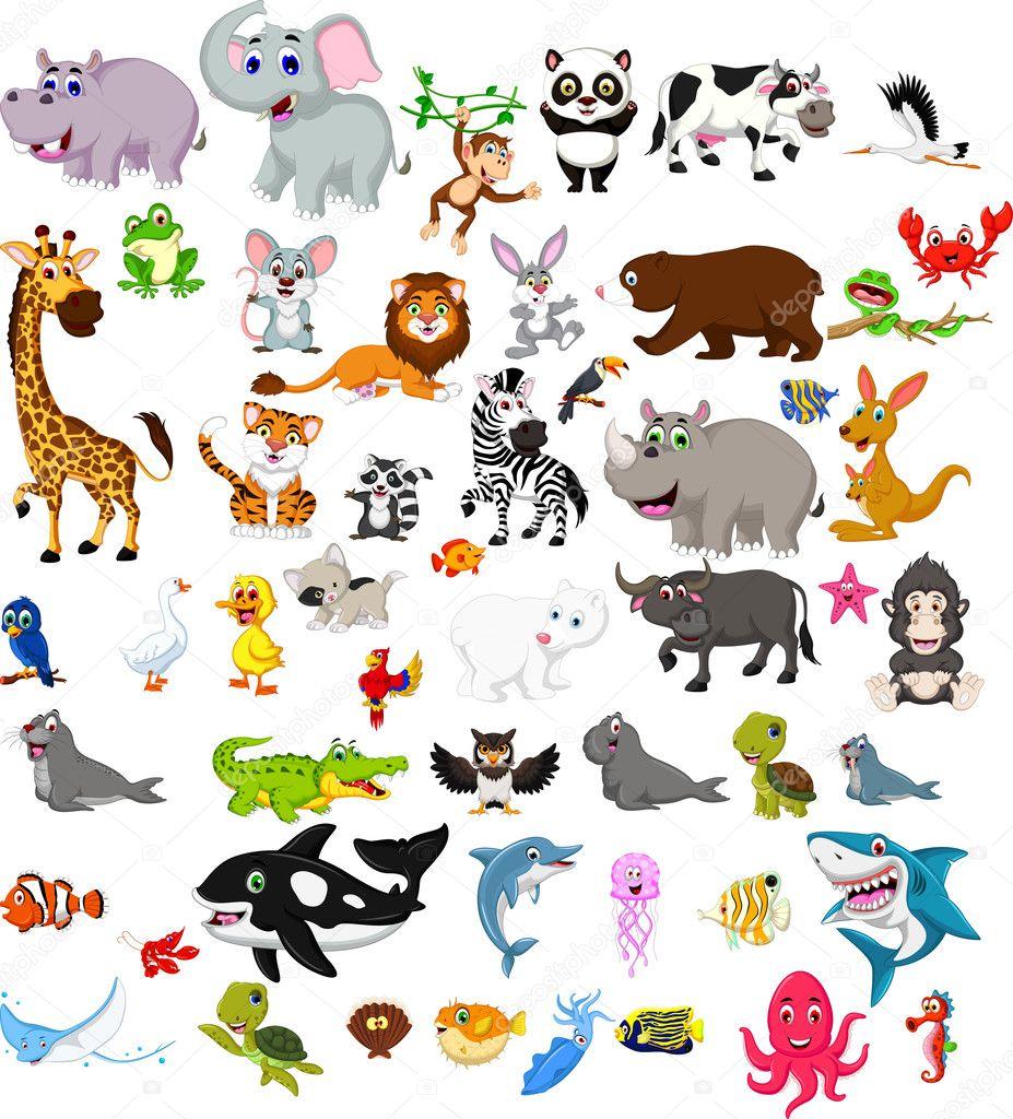Dibujos: animales de | Conjunto de animales grandes de ...