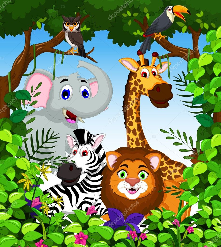 funny animal cartoon collection in the jungle
