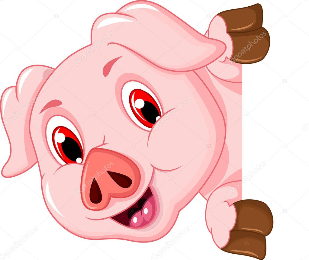 Cochon Dessin dessin animé drôle de cochon, tenant une pancarte blanche