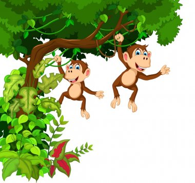 happy two monkey cartoon hinging