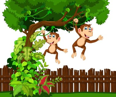 happy monkey cartoon hinging in the tropical tree