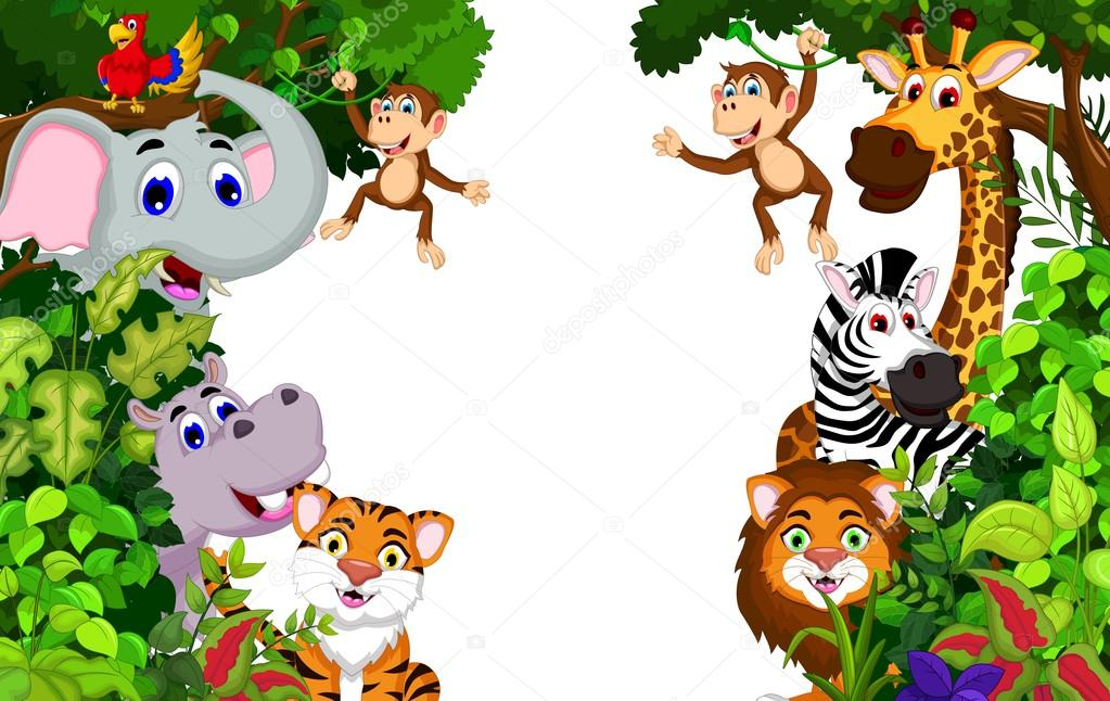 Funny Animal Cartoon With Forest Background Stock Photo