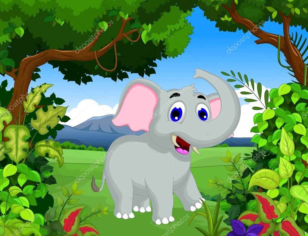 Elefante divertente del fumetto con priorità bassa di paesaggio