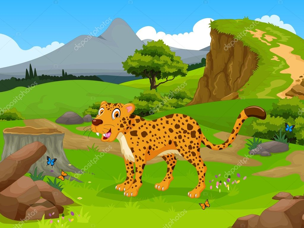 Animated Cheetah Wallpaper funny cheetah cartoon in the jungle with landscape
