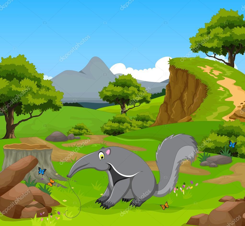 Fumetto divertente formichiere nella giungla con sfondo di