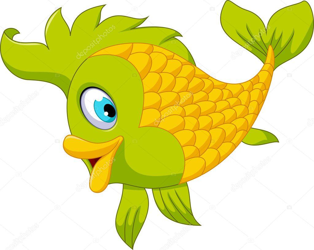 Pez Verde De Dibujos Animados Lindo Posando