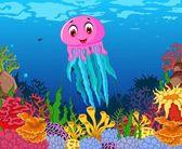 kreslené vtipné medúzy krásy moře života zázemí