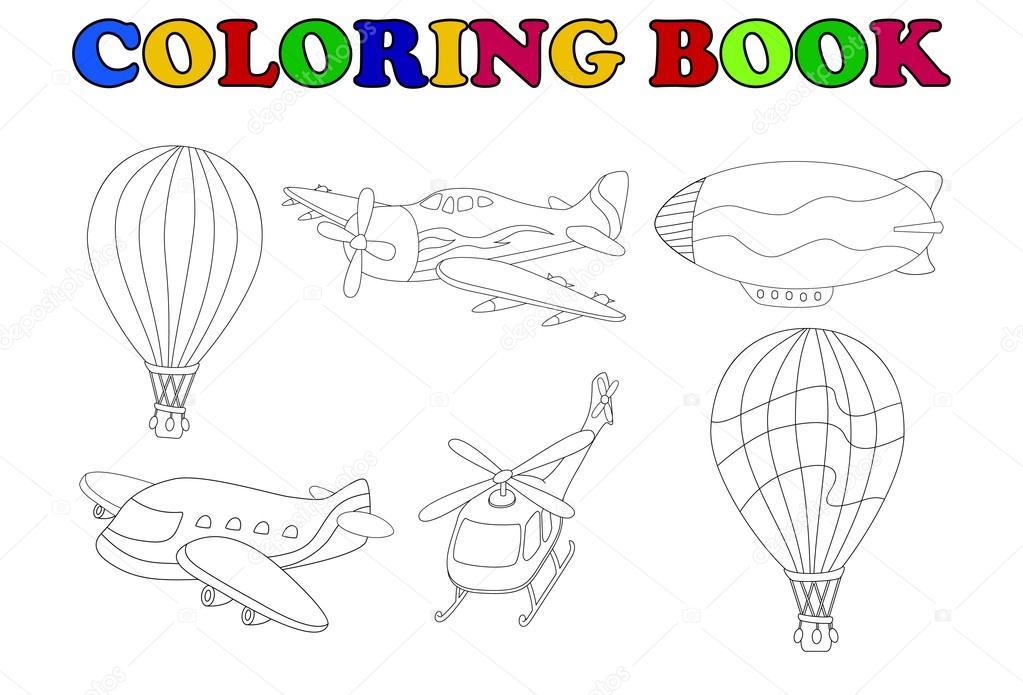 Animado: transporte aéreo dibujo | colorear libro de transporte ...