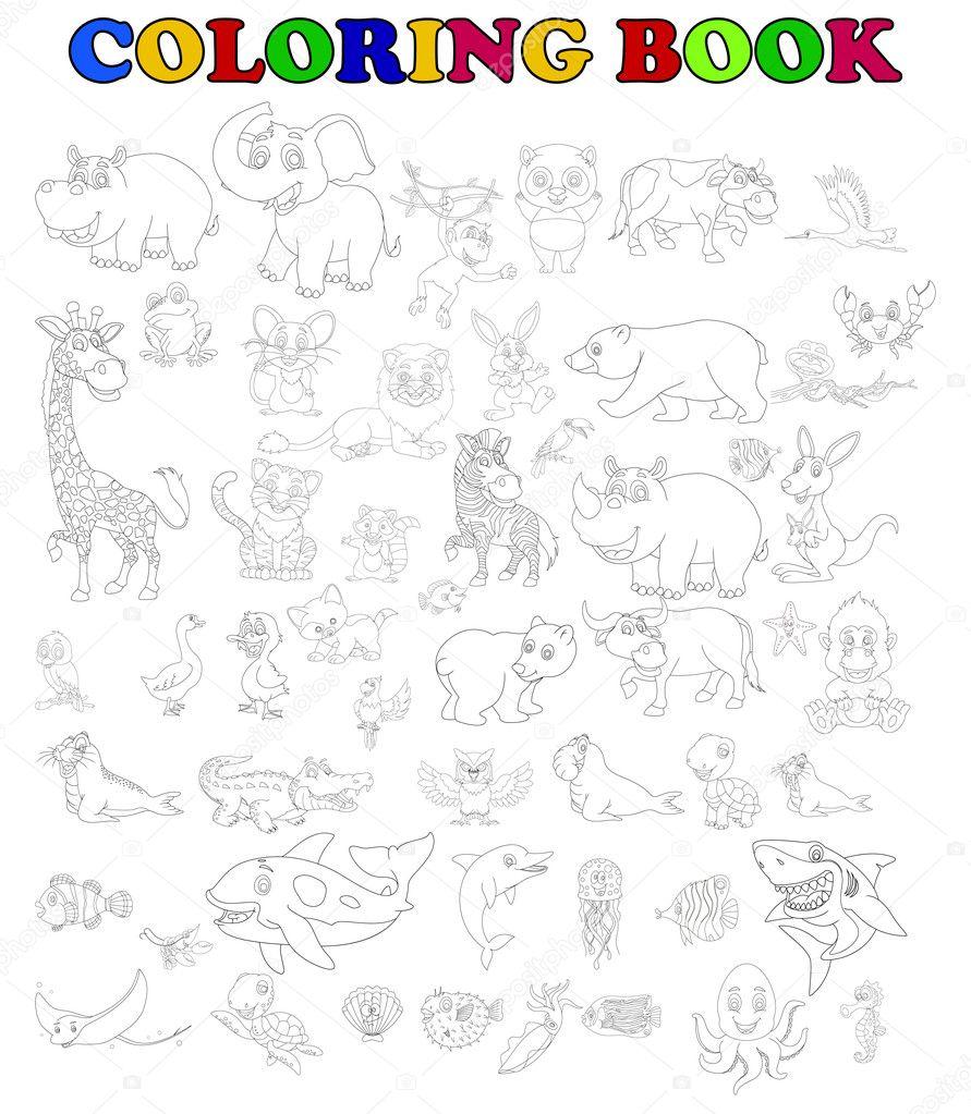 libro para colorear de animales grandes de dibujos animados conjunto ...