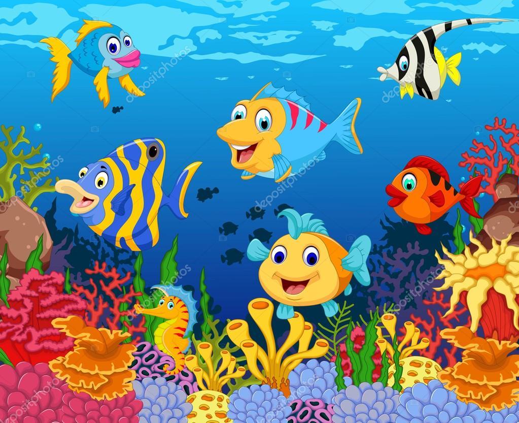 Dessin anim dr le de poisson avec fond de beaut mer vie photographie starlight789 126820620 - Dessins de poissons de mer ...