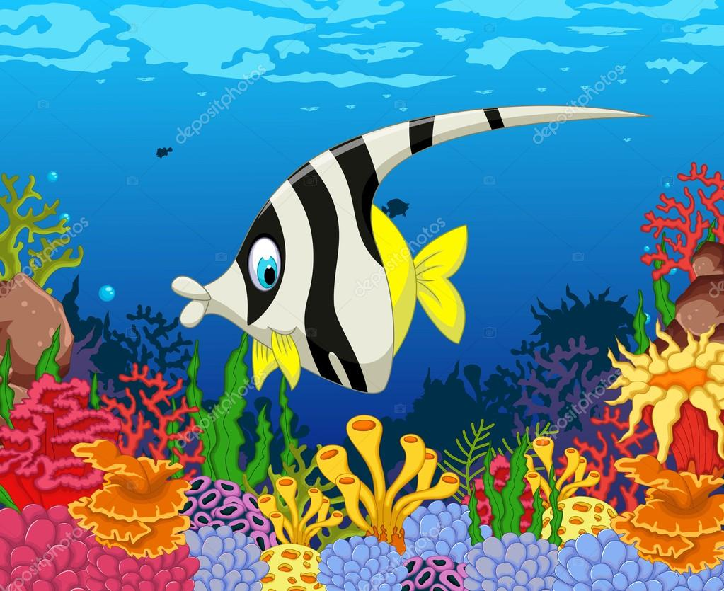 funny black and white angel fish cartoon with beauty sea