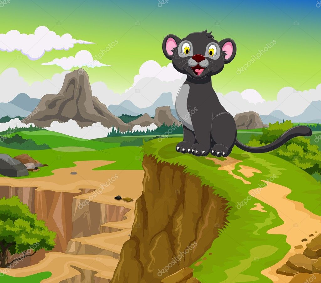 funny black panther cartoon with beauty mountain landscape background