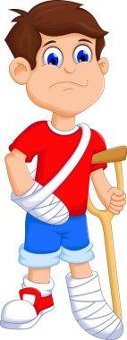 Boy cartoon broken arm and leg