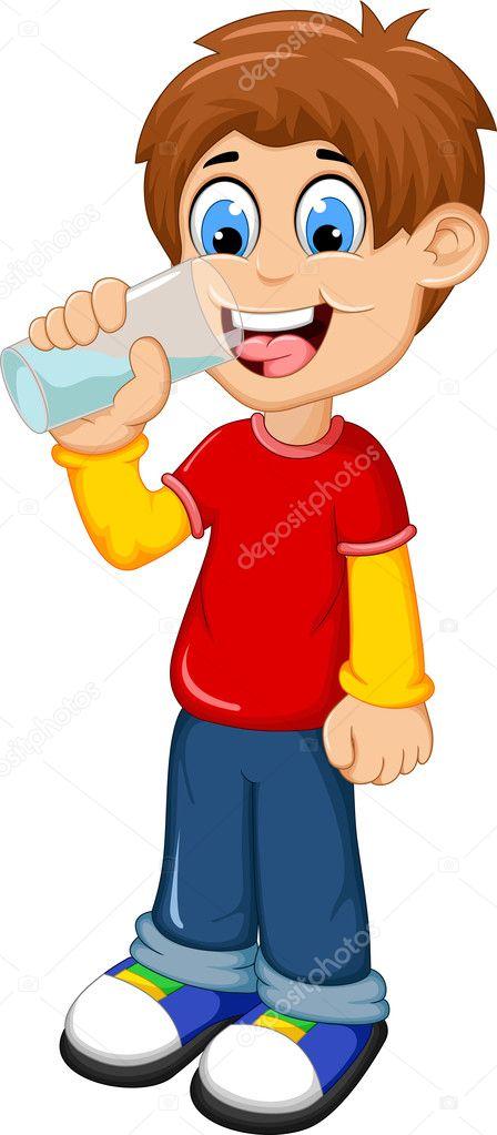 cute boy cartoon drinking water — stock vector © starlight789 #127117464