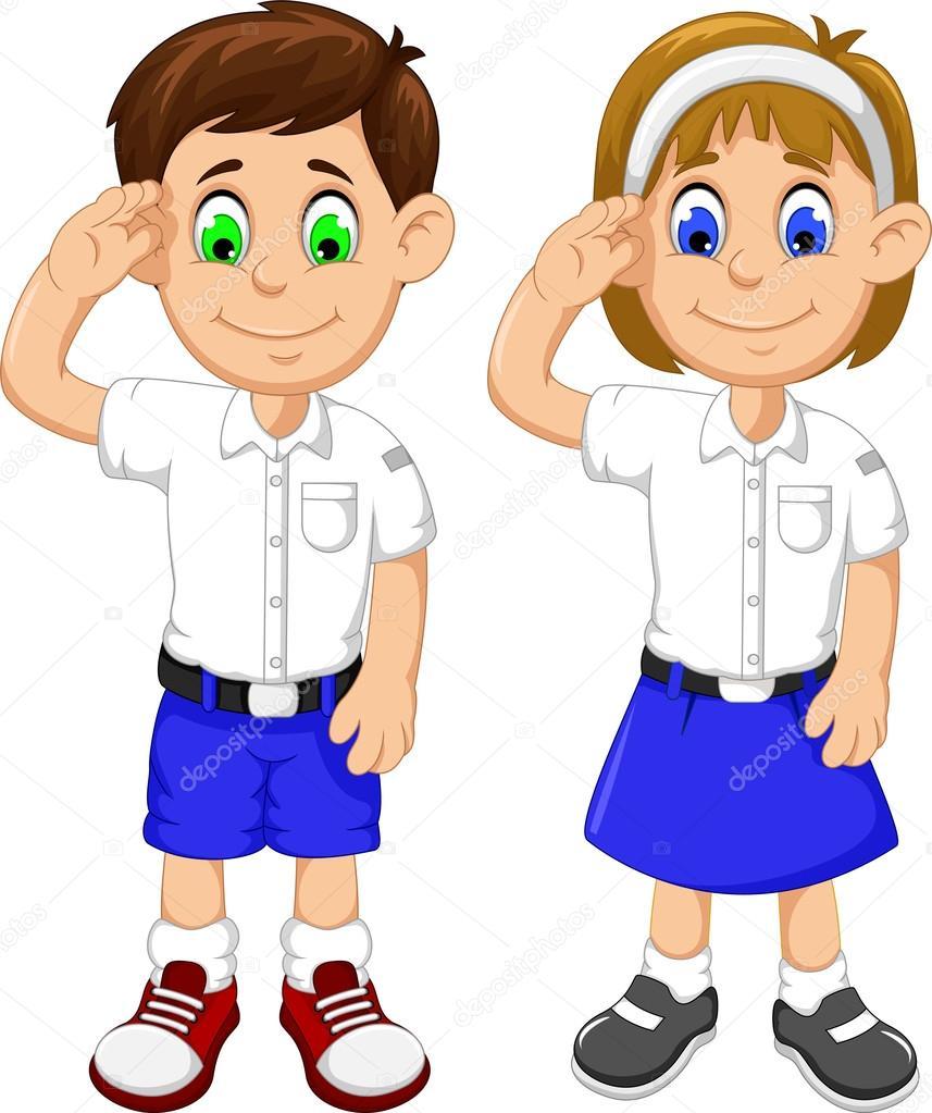 Dos Estudiantes De Dibujos Animados Lindo Respetuoso Fotos De