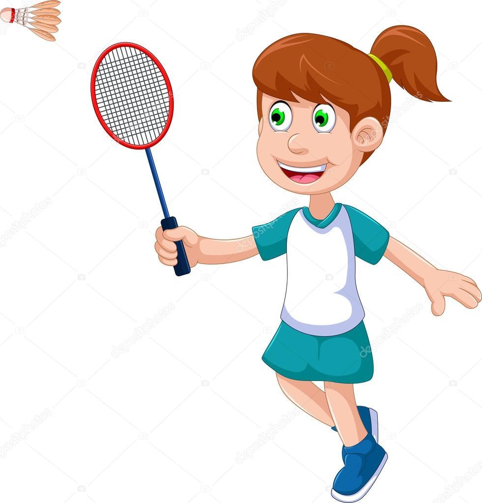 Badminton cartoon girl