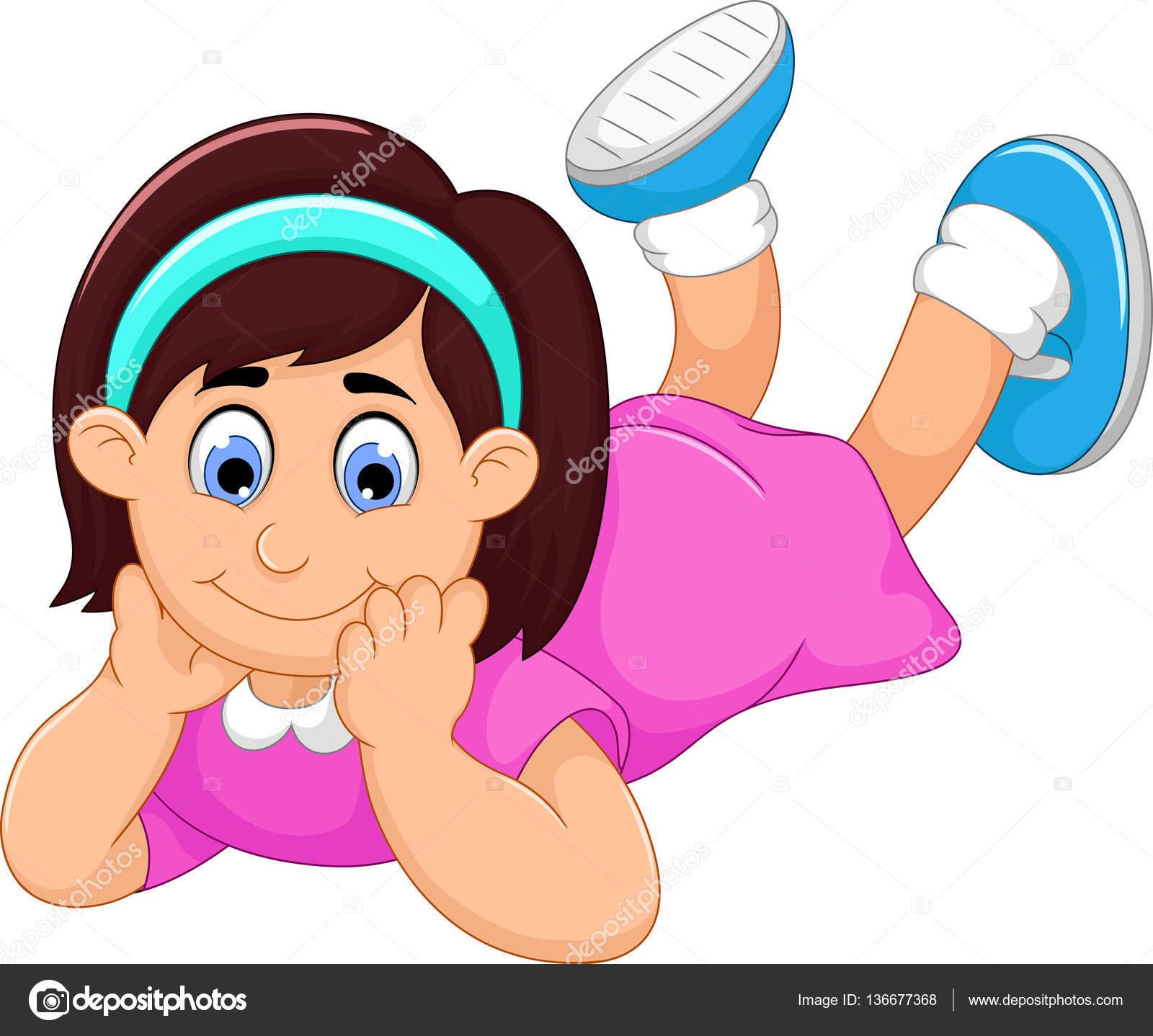 Mignonne Petite Fille Dessin Animé Sujette Photographie