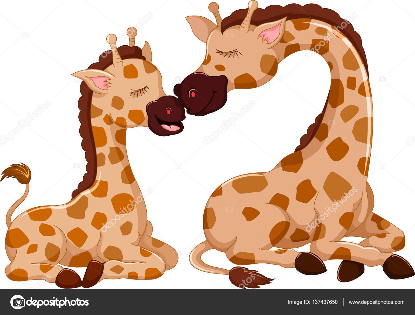 Divertida Jirafa De Dibujos Animados Con Su Bebé