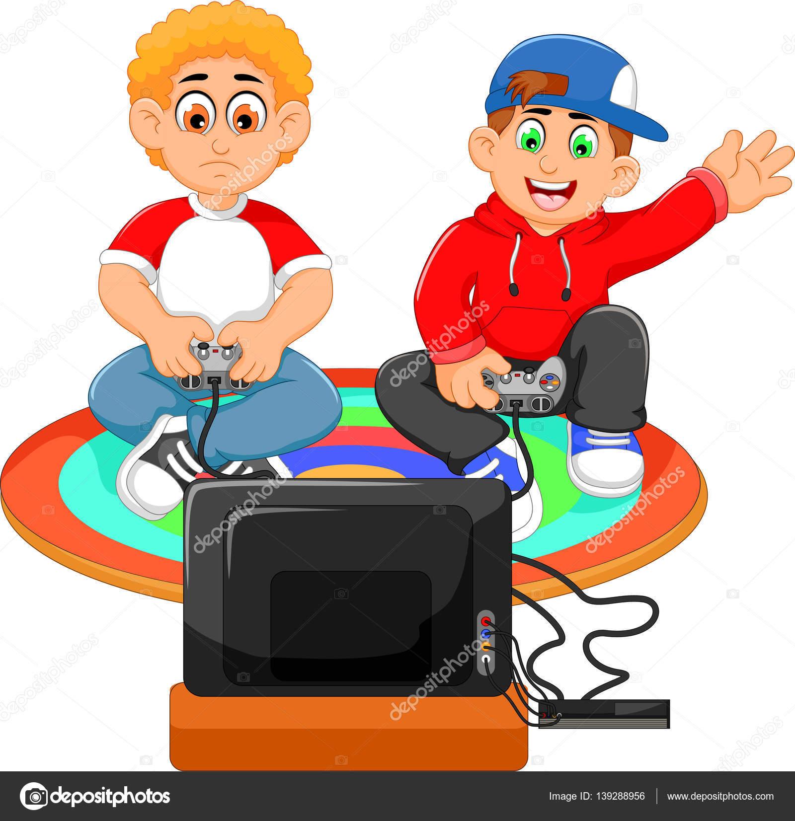 Gracioso Dos Chicos Jugando Playstation Foto De Stock